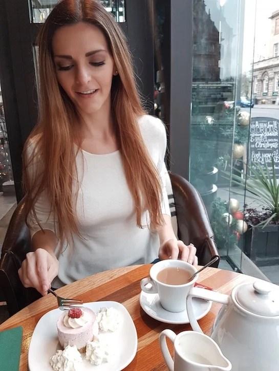 Kashlee Kucheran having tea in scotland - what to do in Edinburgh itinerary
