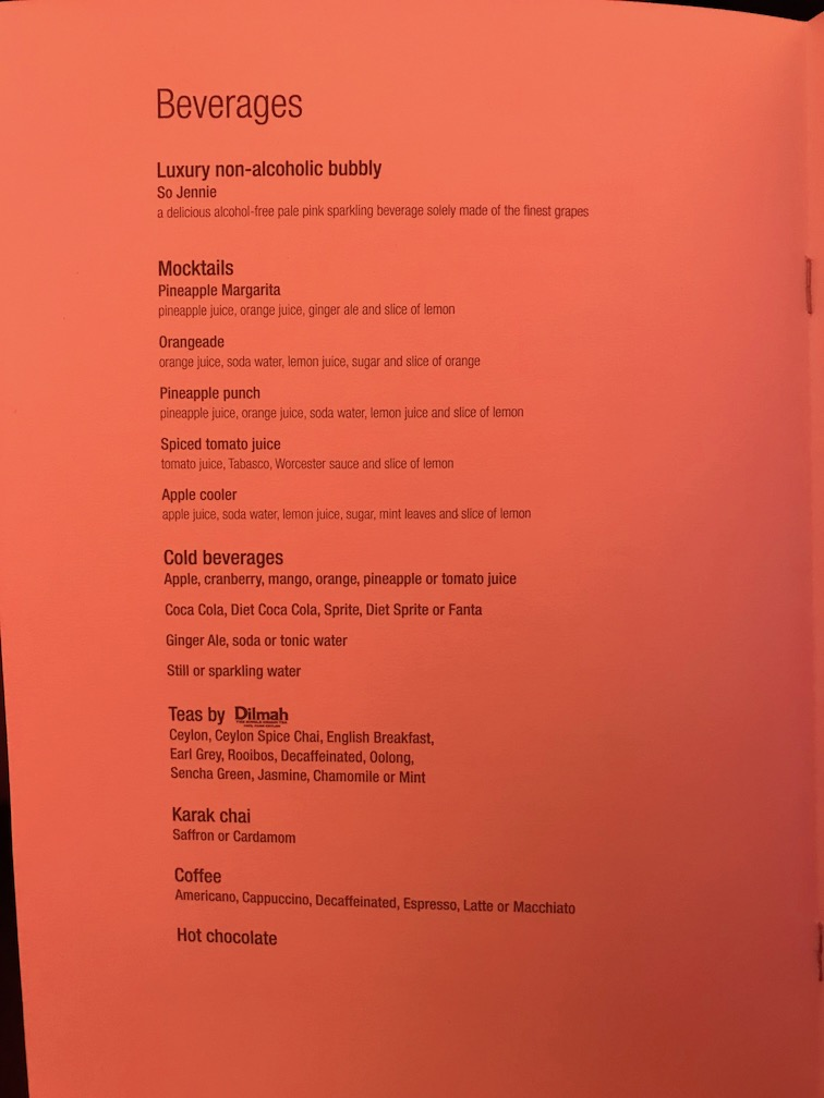 non-alcoholic beverages on Qatar Airways business class