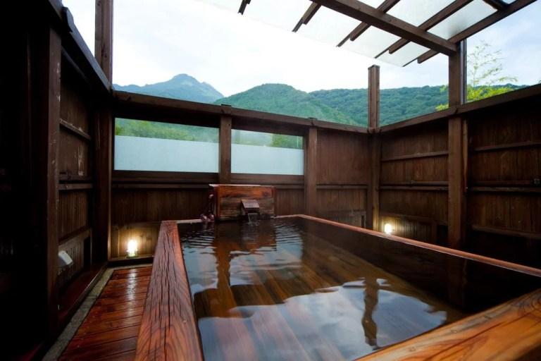 natural hot spring pool in ryokan