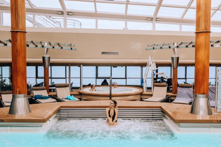 Kashlee Millennial traveler in cruise ship pool