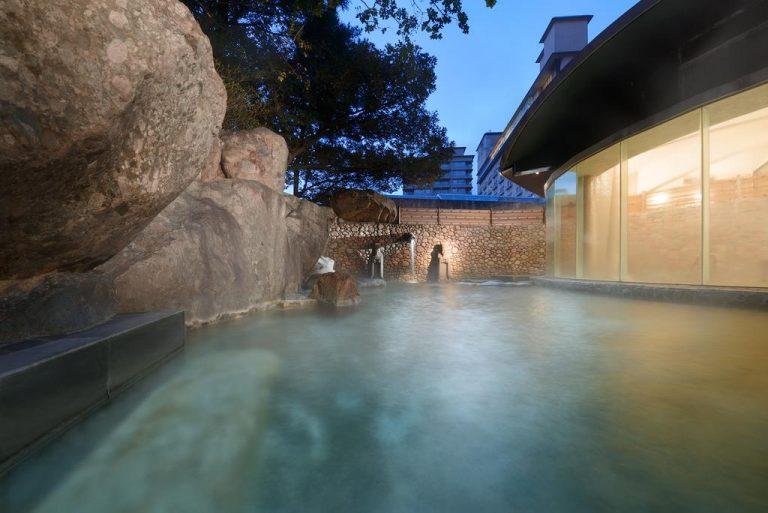 Outdoor open air japanese hot spring onsen