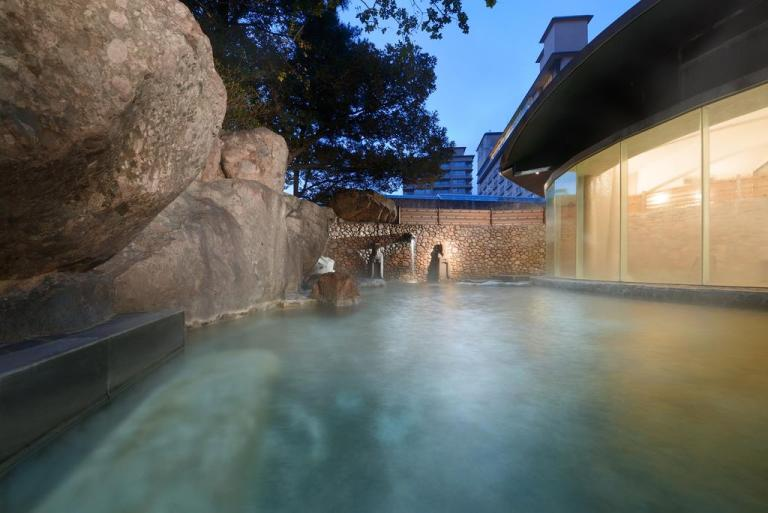 Outdoor open air japanese hot spring onsen