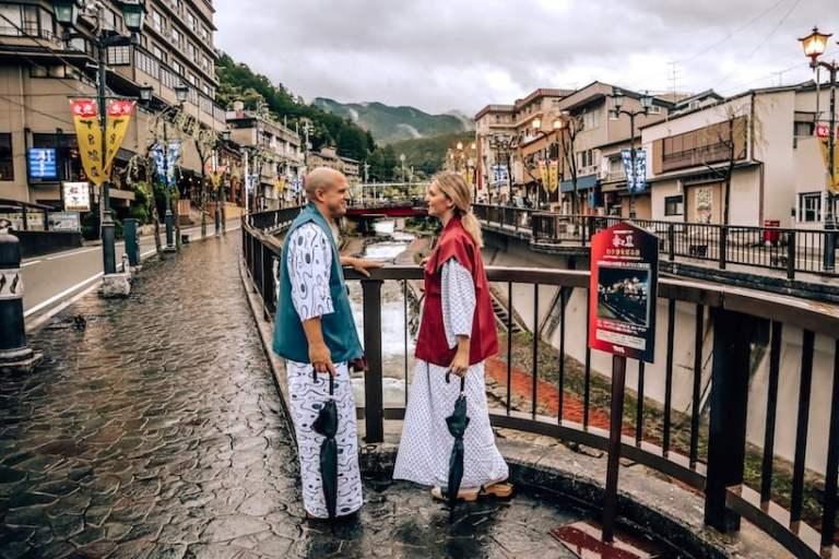 Trevor and Kashlee Kucheran walking through Gero Japan in Yukata