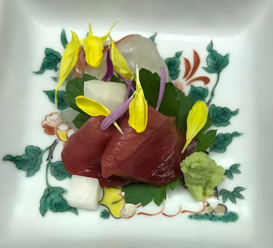 Sashimi tuna in kaiseki dinner central japan