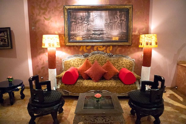 couch in apsara waiting room tugu malang hotel