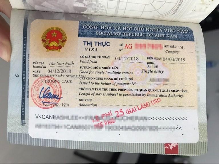Example of vietnam visa in my passport