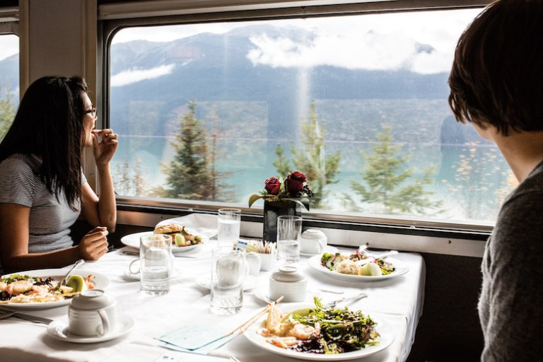dining car on via rail train across canada