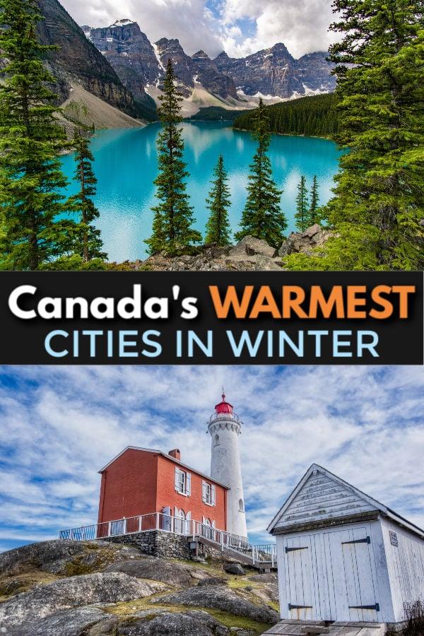 warmest cities in canada in winter