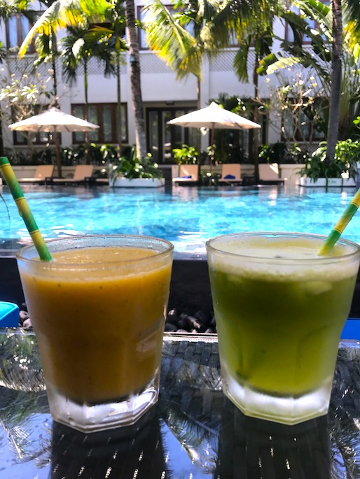 Healthy juice poolside at Almanity Hoi AN