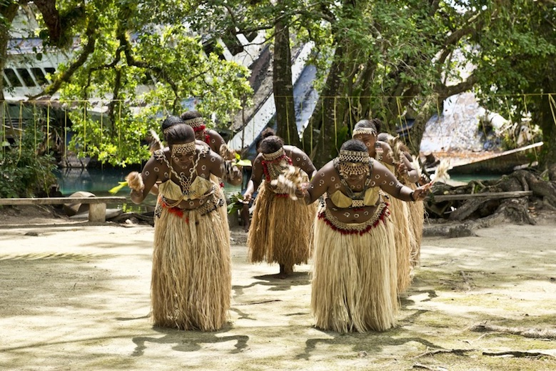 Tribe of women dancing in the Solomon Islands