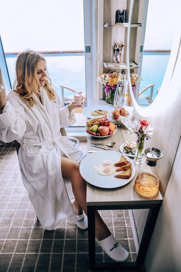Aqua class on celebrity gives you breakfast in bed - newly renovated Millennium ship