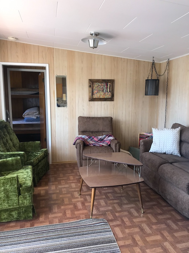 Inside the 1960's retro cabin