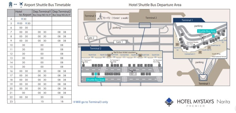 Mystays Narita free airport shuttle schedule with times