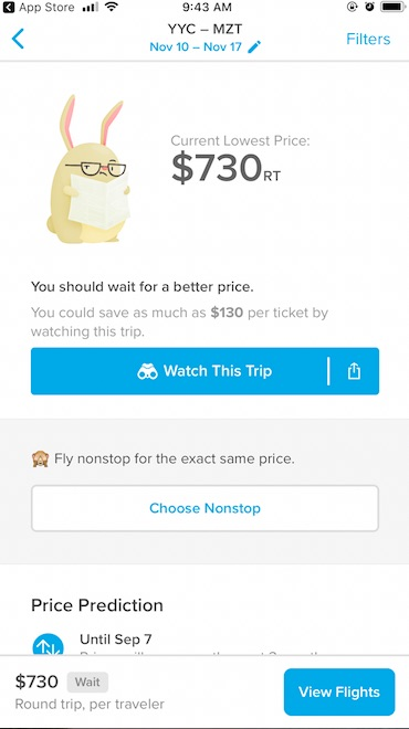 Hopper App gives advice if you should wait for airfare to come down in price