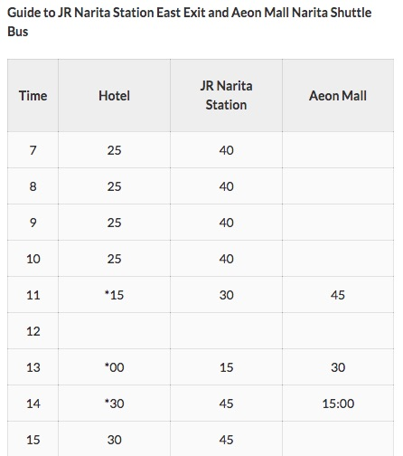 Mystays hotel Aeon Mall shuttle schedule