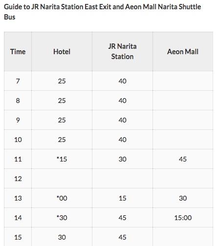 Mystays hotel Aeon Mall shuttle schedule
