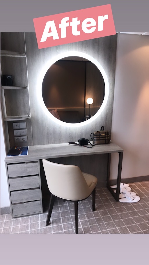 new desk with circle ring light mirror on celebrity millennium renovated ship