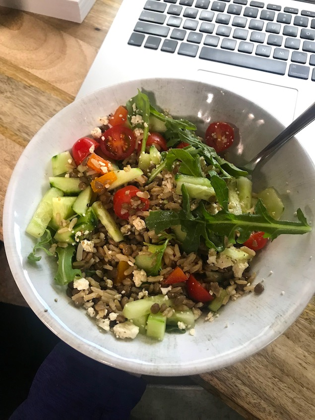 Greek lentil bowls - easy vegetarian meal for tiny kitchens