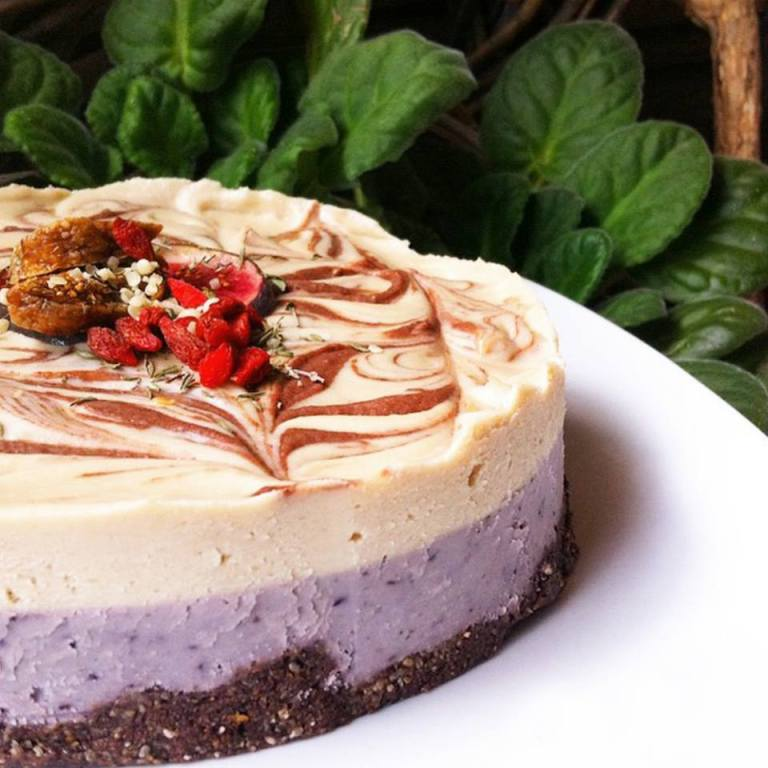 Watson in Amsterdam has a vegan blueberry cheesecake