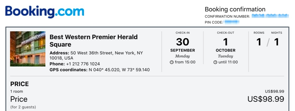 my booking confirmation for under $100 at this NYC hotel