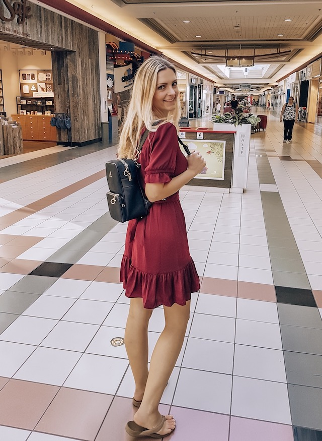 Kashlee Kucheran in Kelowna mall with arden cove backpack