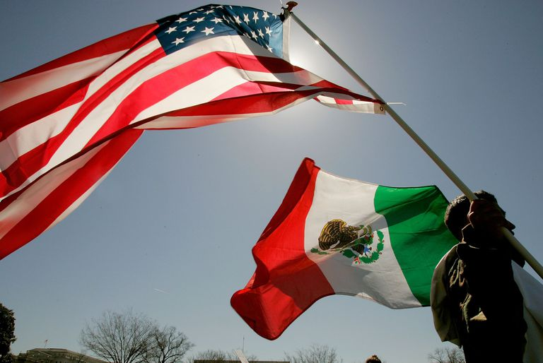 Mexico and US flags