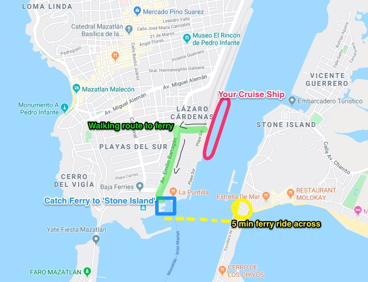 how to get to stone island from the cruise port Mazatlan