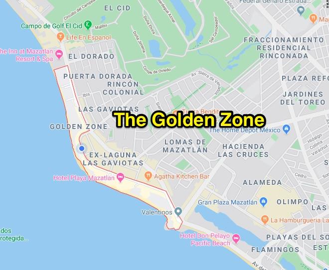 The Golden Zone area in Mazatlán