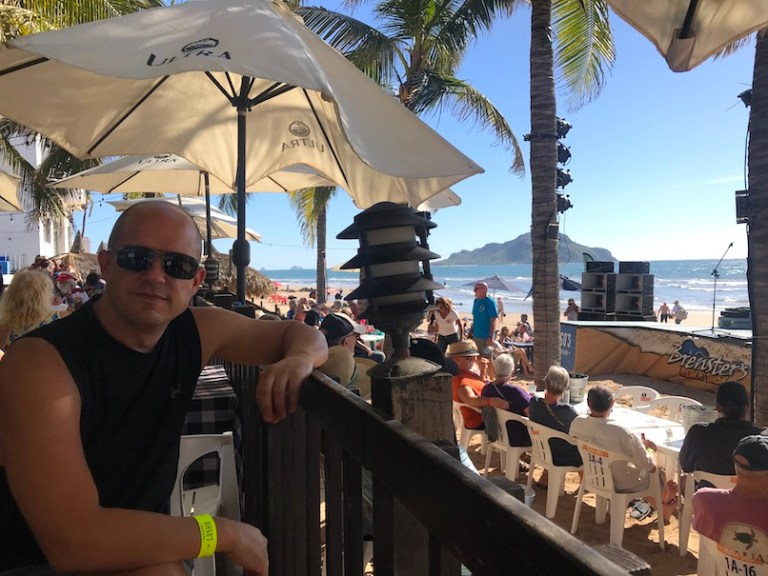 Trevor at Brensters beach bash in mazatlan