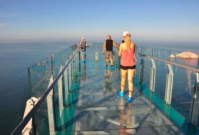 Glass walkway bridge at El Faro mazatlan