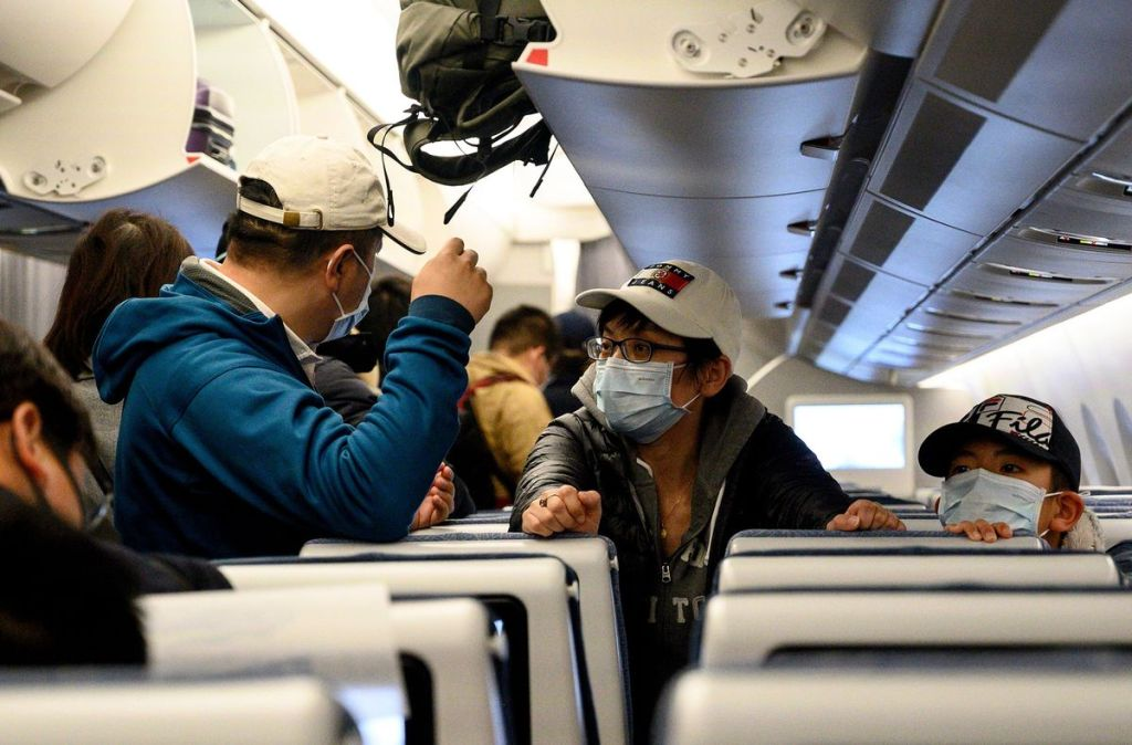 masks on plane