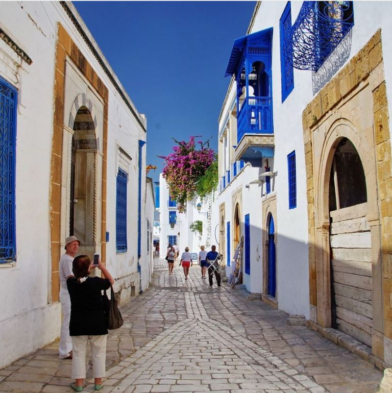 Tourists in the street of tunisia