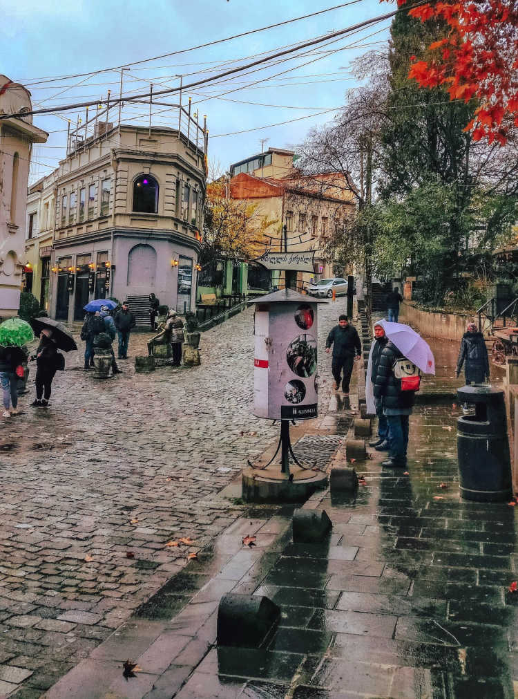 tourists in streets of Tbilisi, Georgia