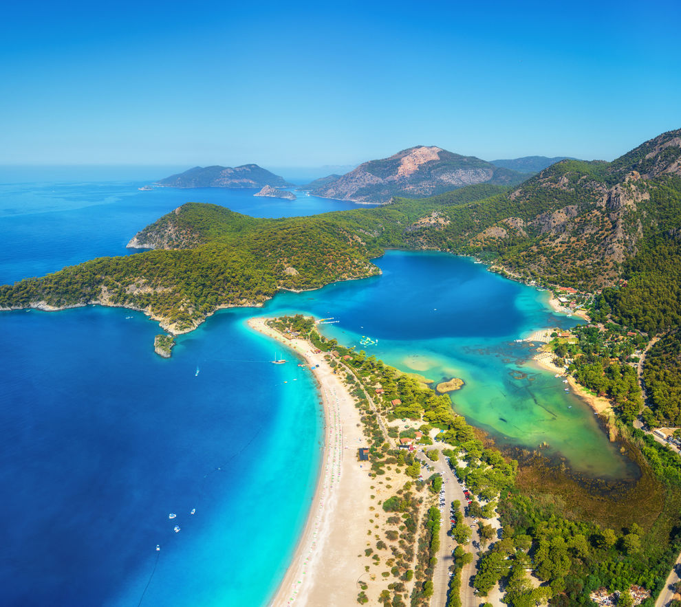 Aerial view of Blue Lagoon in Oludeniz, Turkey