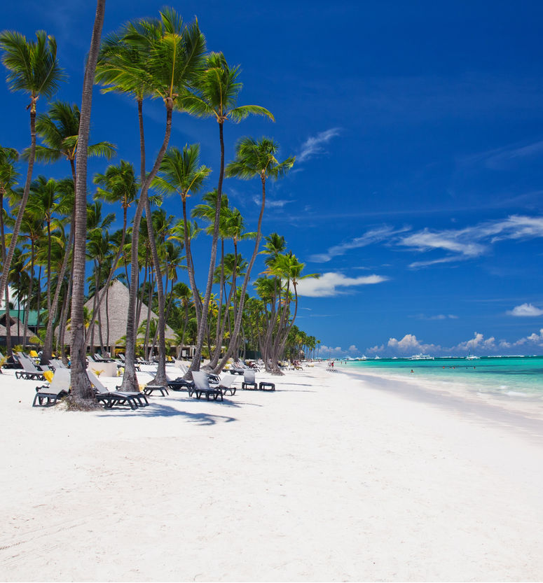 Ocean view on the Bavaro beach in Punta Cana. Dominican republic