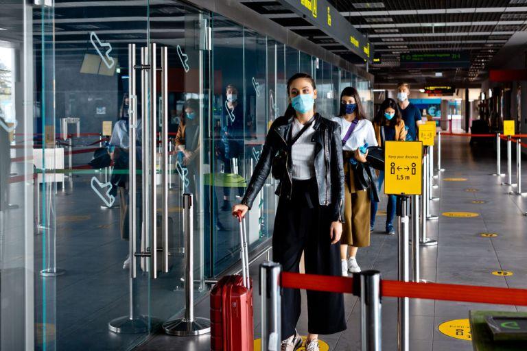 Traveler at airport mask