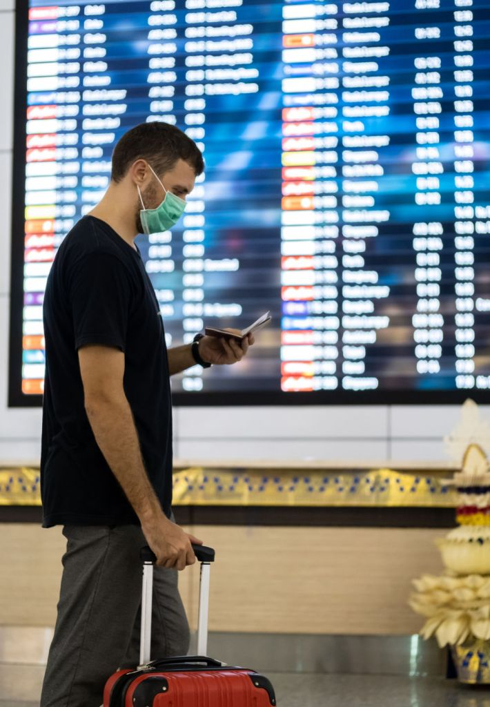 male traveler at airport in europe