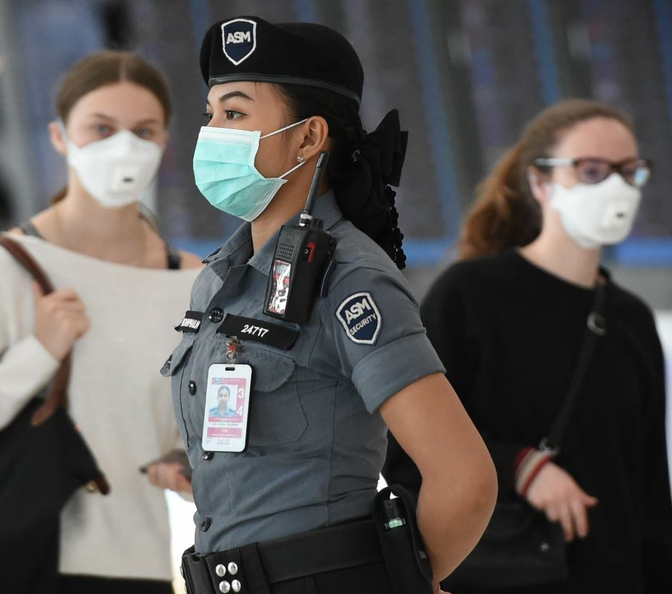 security at airport with mask