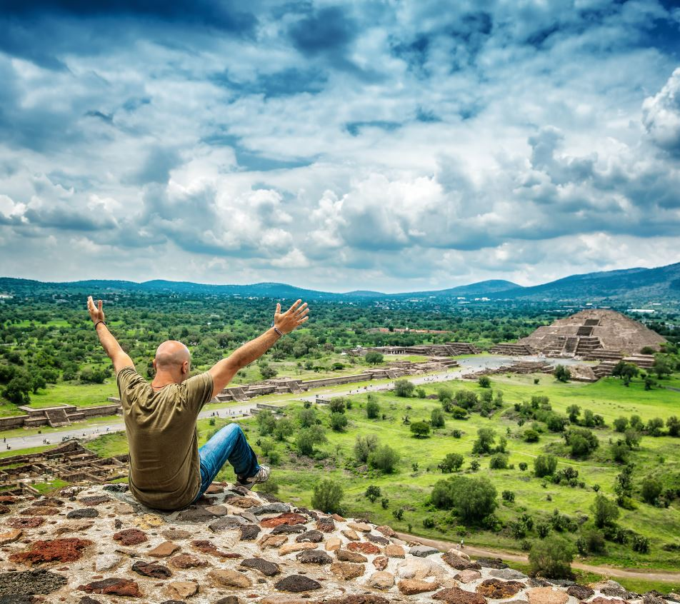 Traveler in Mexico at ruins