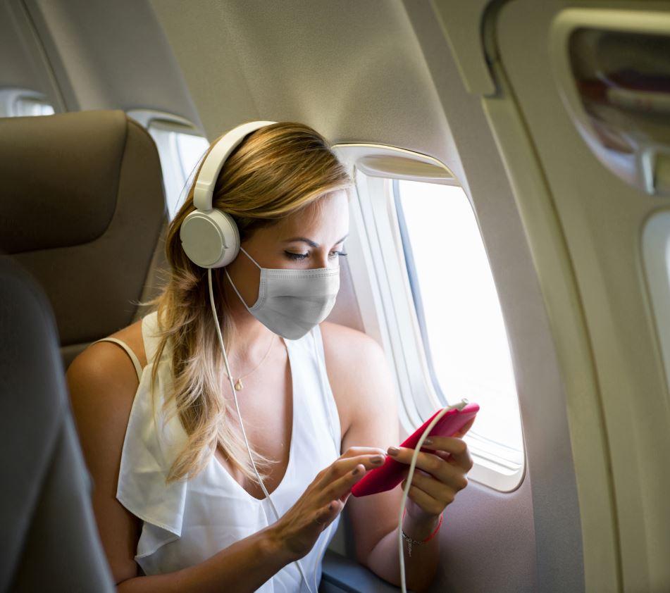 plane passenger wearing mask