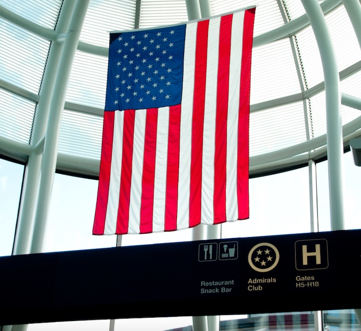 American flag O'Hare International Airport Chicago