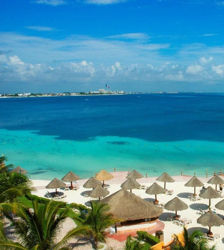 cancun beach mexico flag