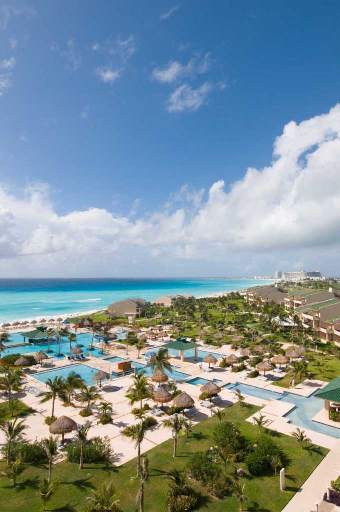 Cancun resort pool on oceanfront