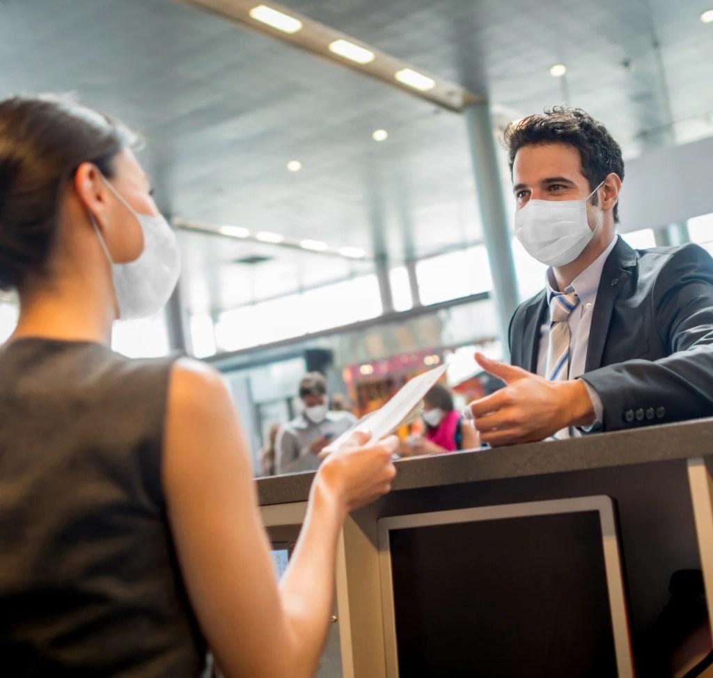 airline checkin desk masks protocols
