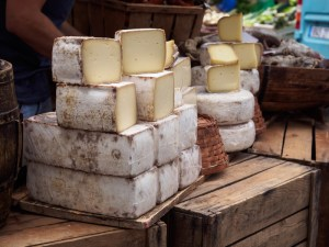 Cheese at street market in Arles, France
