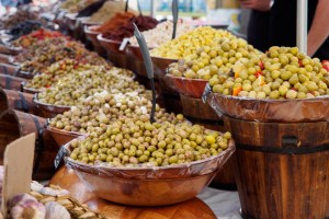 Olives at street market in Arles, France