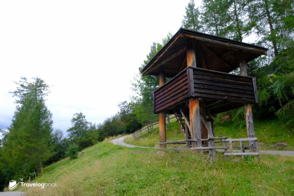 海迪和彼得經常會攀上類似的樹屋看守羊群。而當她到了法蘭克福當傭人,也經常爬上高塔,幻想在屋頂之上,可以看到家鄉的草地和爺爺的蹤影。