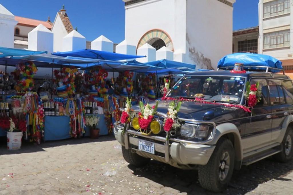 Autotaufe in Copacabana in Bolivien