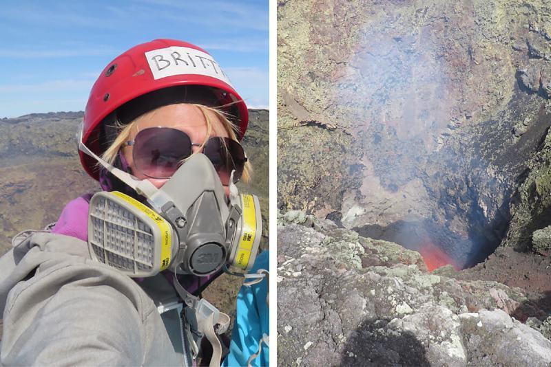 Mit Gasmaske auf einen aktiven Vulkan Chiles