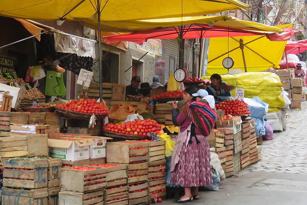 Gemüsemarkt in Bolivien La Paz